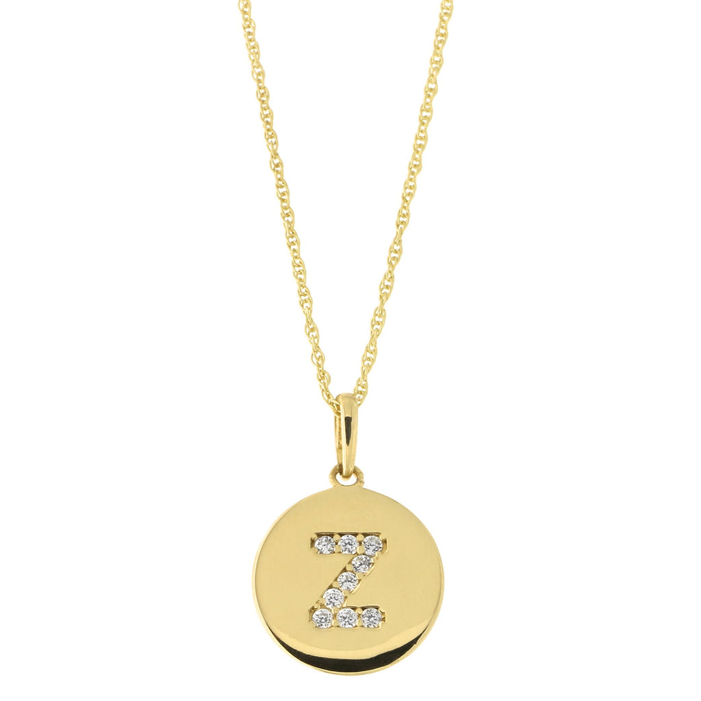 14k Yellow Gold Cubic Zirconia Initial Disc Pendant Necklace, Z, 18 inches