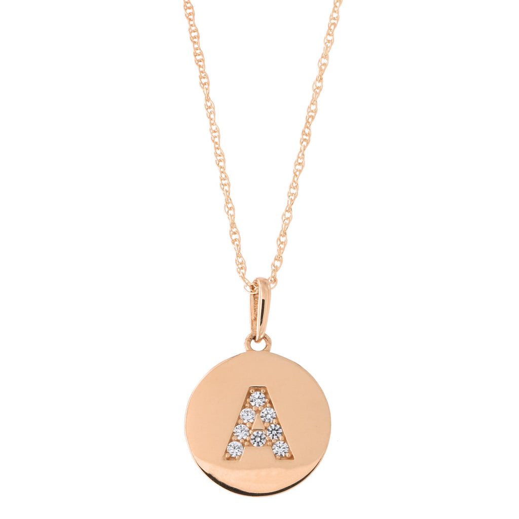 14k Rose Gold Cubic Zirconia Initial Disc Pendant Necklace, A, 13 inches