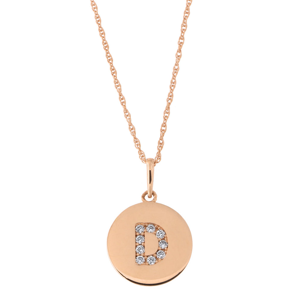 14k Rose Gold Cubic Zirconia Initial Disc Pendant Necklace, D, 16 inches