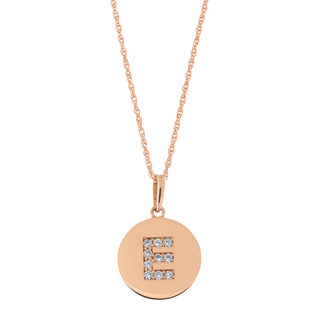 14k Rose Gold Cubic Zirconia Initial Disc Pendant Necklace, E, 15 inches