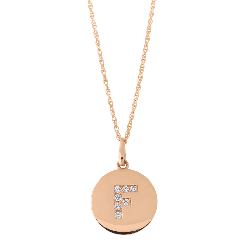 14k Rose Gold Cubic Zirconia Initial Disc Pendant Necklace, F, 16 inches