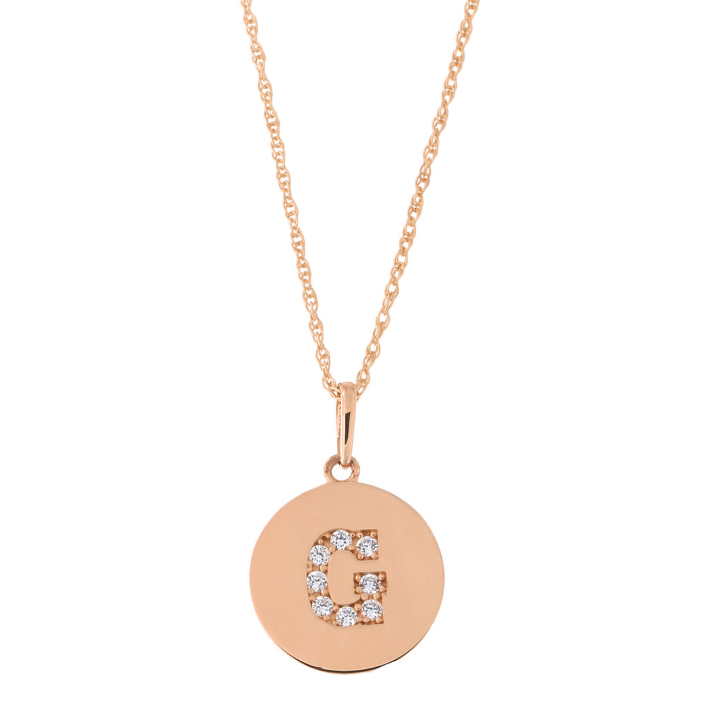 14k Rose Gold Cubic Zirconia Initial Disc Pendant Necklace, G, 15 inches