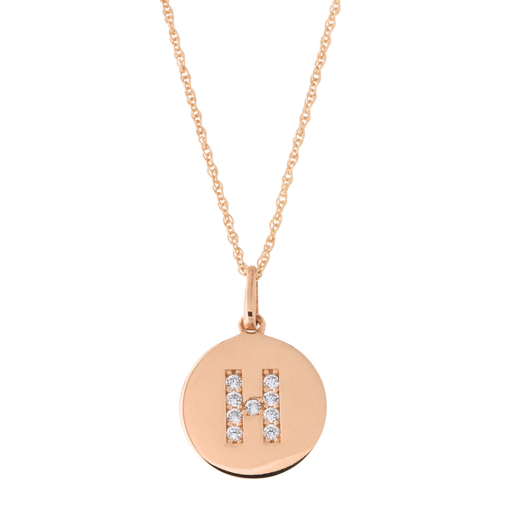14k Rose Gold Cubic Zirconia Initial Disc Pendant Necklace, H, 18 inches