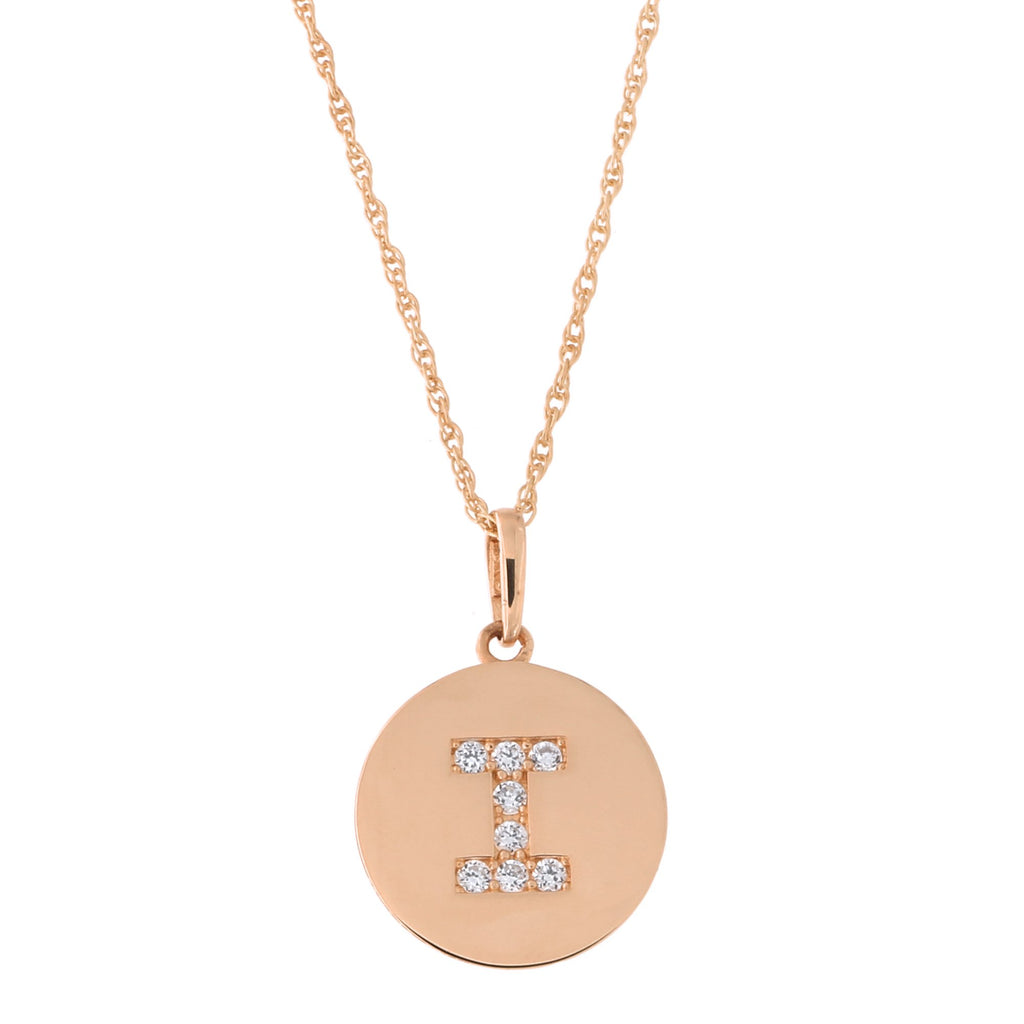 14k Rose Gold Cubic Zirconia Initial Disc Pendant Necklace, I, 15 inches