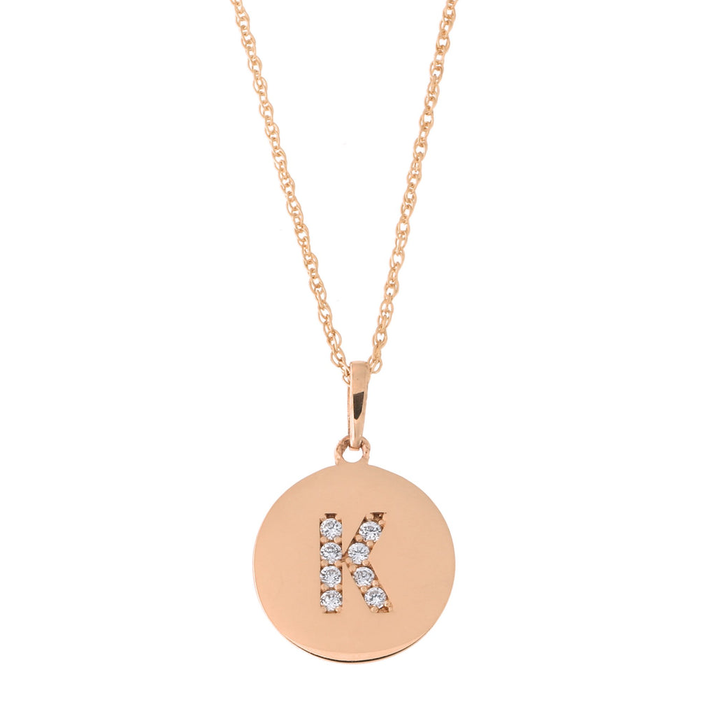 14k Rose Gold Cubic Zirconia Initial Disc Pendant Necklace, K, 15 inches