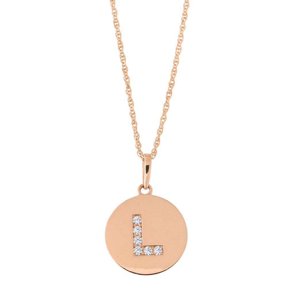 14k Rose Gold Cubic Zirconia Initial Disc Pendant Necklace, L, 13 inches