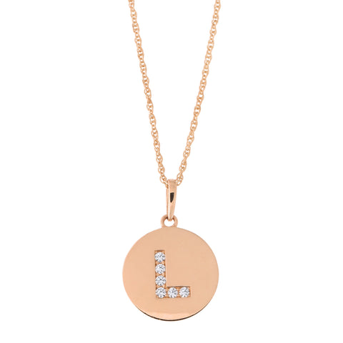 14k Rose Gold Cubic Zirconia Initial Disc Pendant Necklace, L, 18 inches