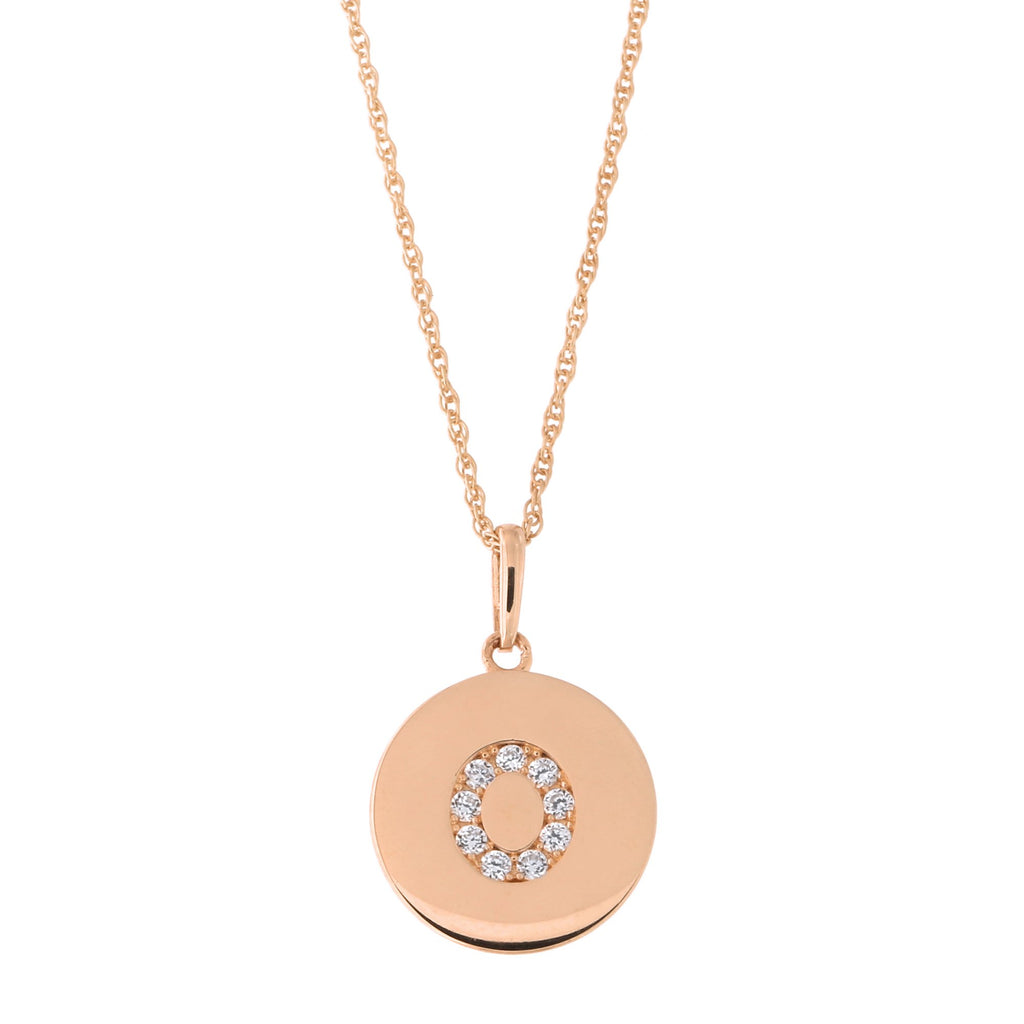 14k Rose Gold Cubic Zirconia Initial Disc Pendant Necklace, O, 16 inches
