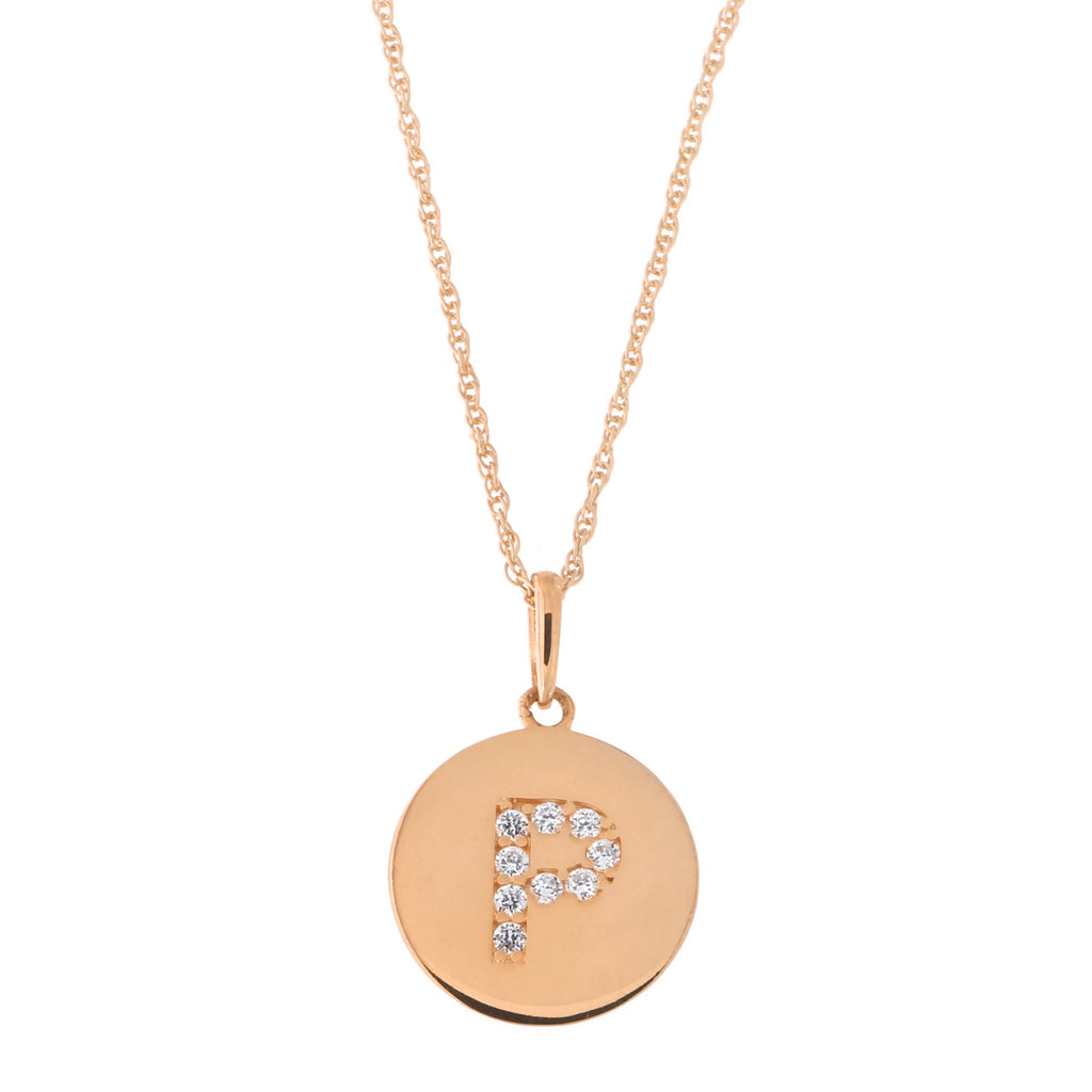 14k Rose Gold Cubic Zirconia Initial Disc Pendant Necklace, P, 13 inches