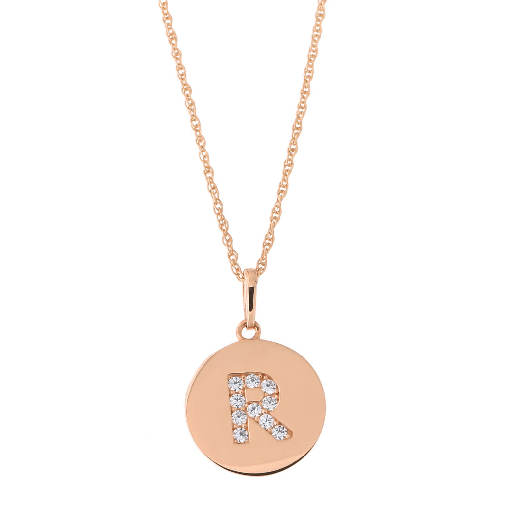 14k Rose Gold Cubic Zirconia Initial Disc Pendant Necklace, R, 16 inches