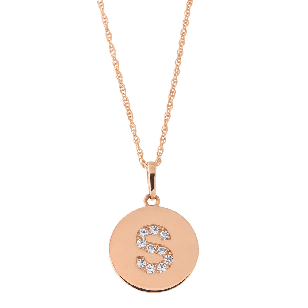 14k Rose Gold Cubic Zirconia Initial Disc Pendant Necklace, S, 18 inches