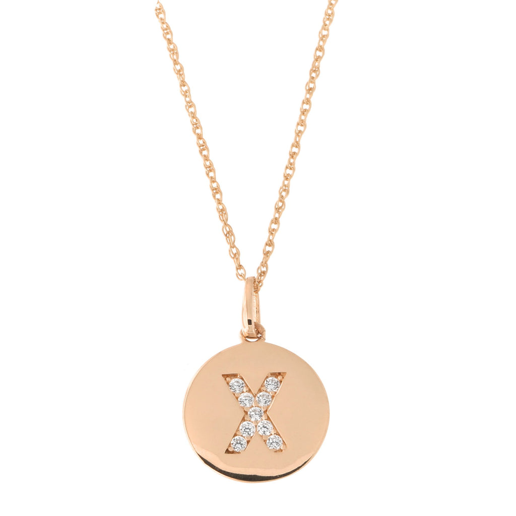 14k Rose Gold Cubic Zirconia Initial Disc Pendant Necklace, X, 16 inches