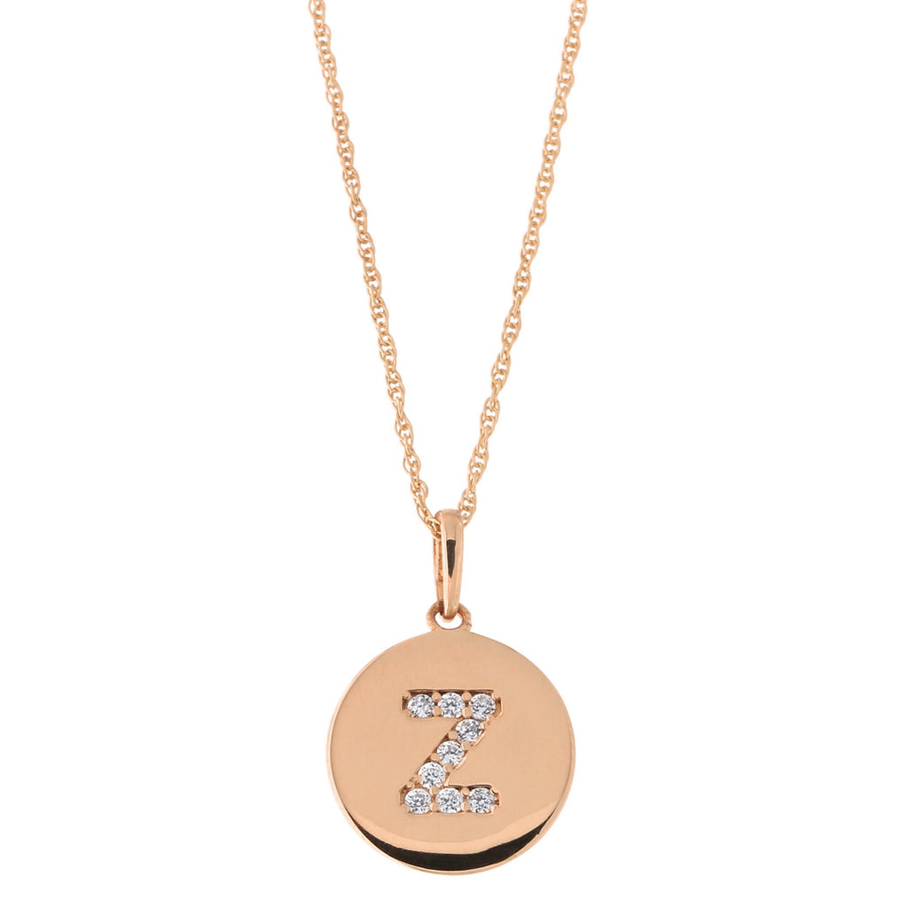 14k Rose Gold Cubic Zirconia Initial Disc Pendant Necklace, Z, 18 inches