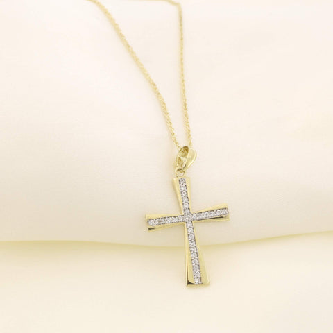14k Yellow Gold Cubic Zirconia Tapered Cross Pendant, Pendant Only