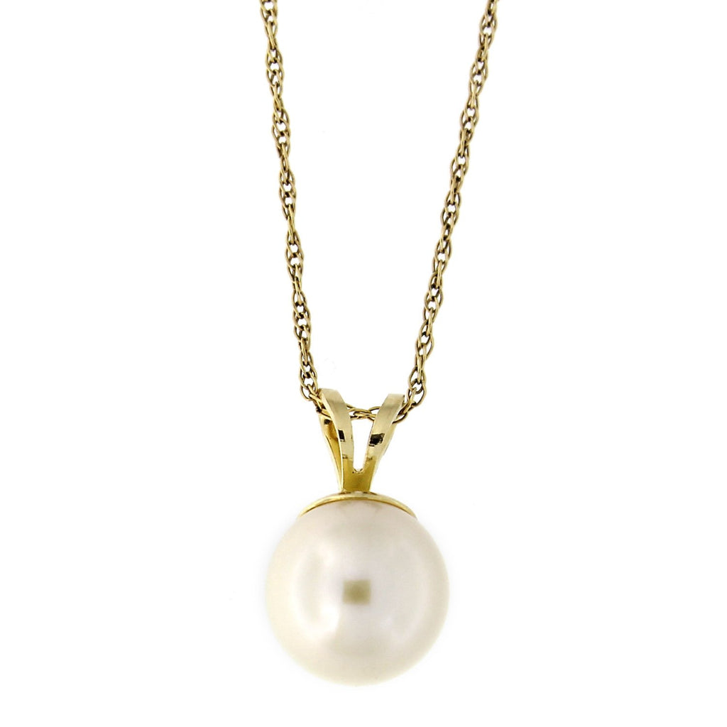 Beauniq 14k Yellow or White Gold Solitaire 9.0-9.5mm Freshwater Cultured Pearl Pendant Necklace