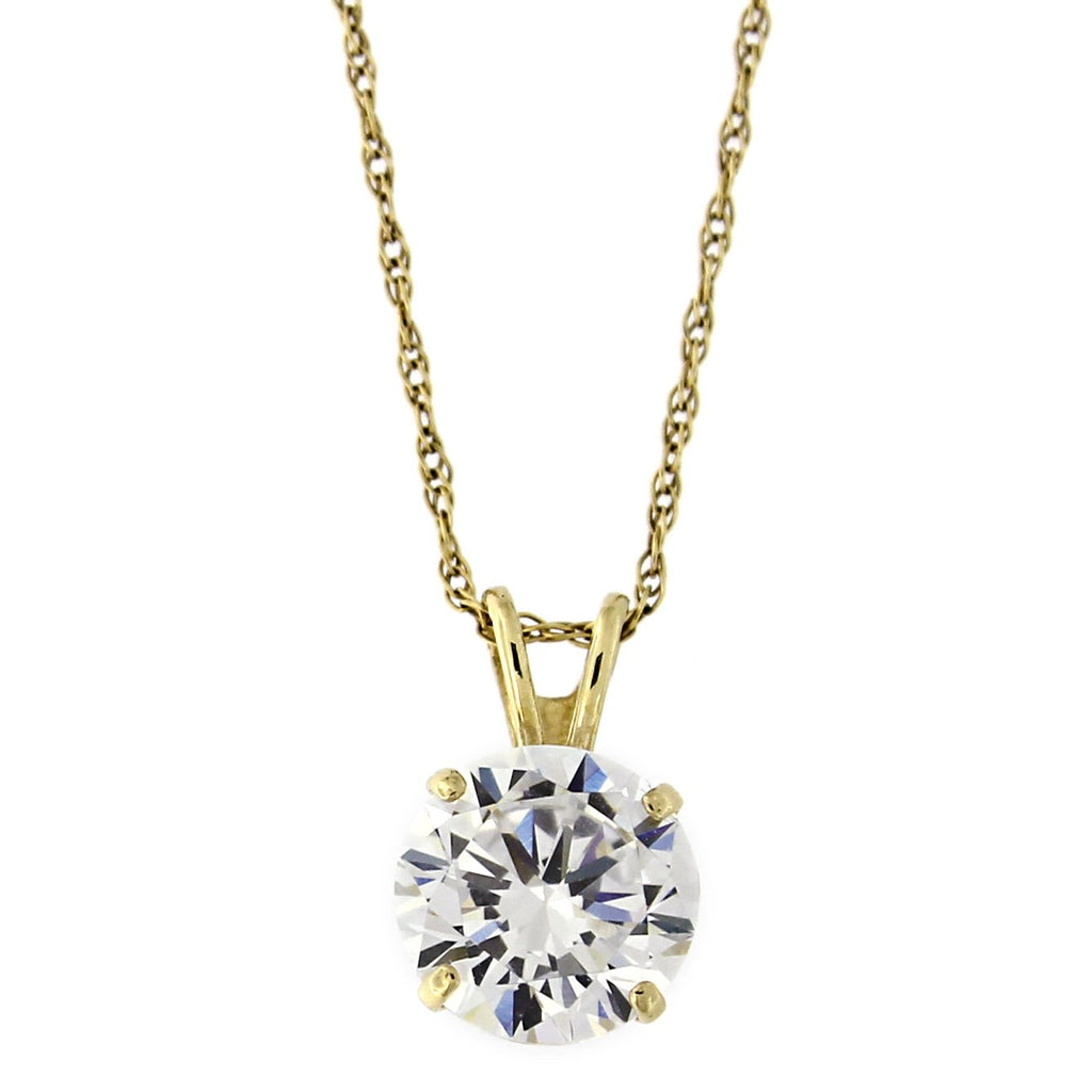 14k Solid Yellow Gold 7mm Simulated Birthstone Solitaire Pendant Necklace