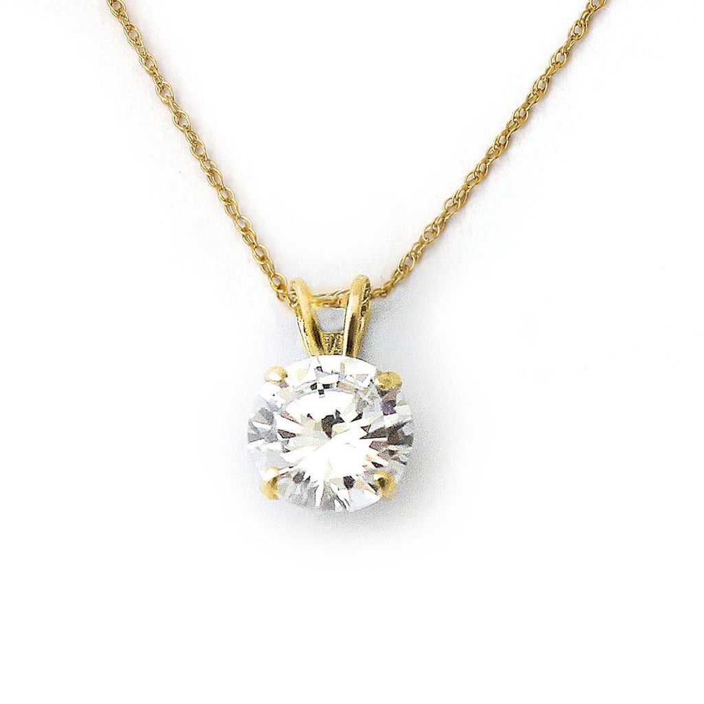 14k Yellow Gold 9mm Simulated Birthstone Solitaire Pendant Necklace