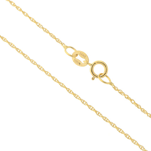 14k Yellow, White or Rose Gold Italian 0.90mm Delicate Rope Chain Necklace