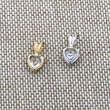 14k White Gold Small 5mm CZ Cubic Zirconia Heart Solitaire Pendant Necklace - pendant only