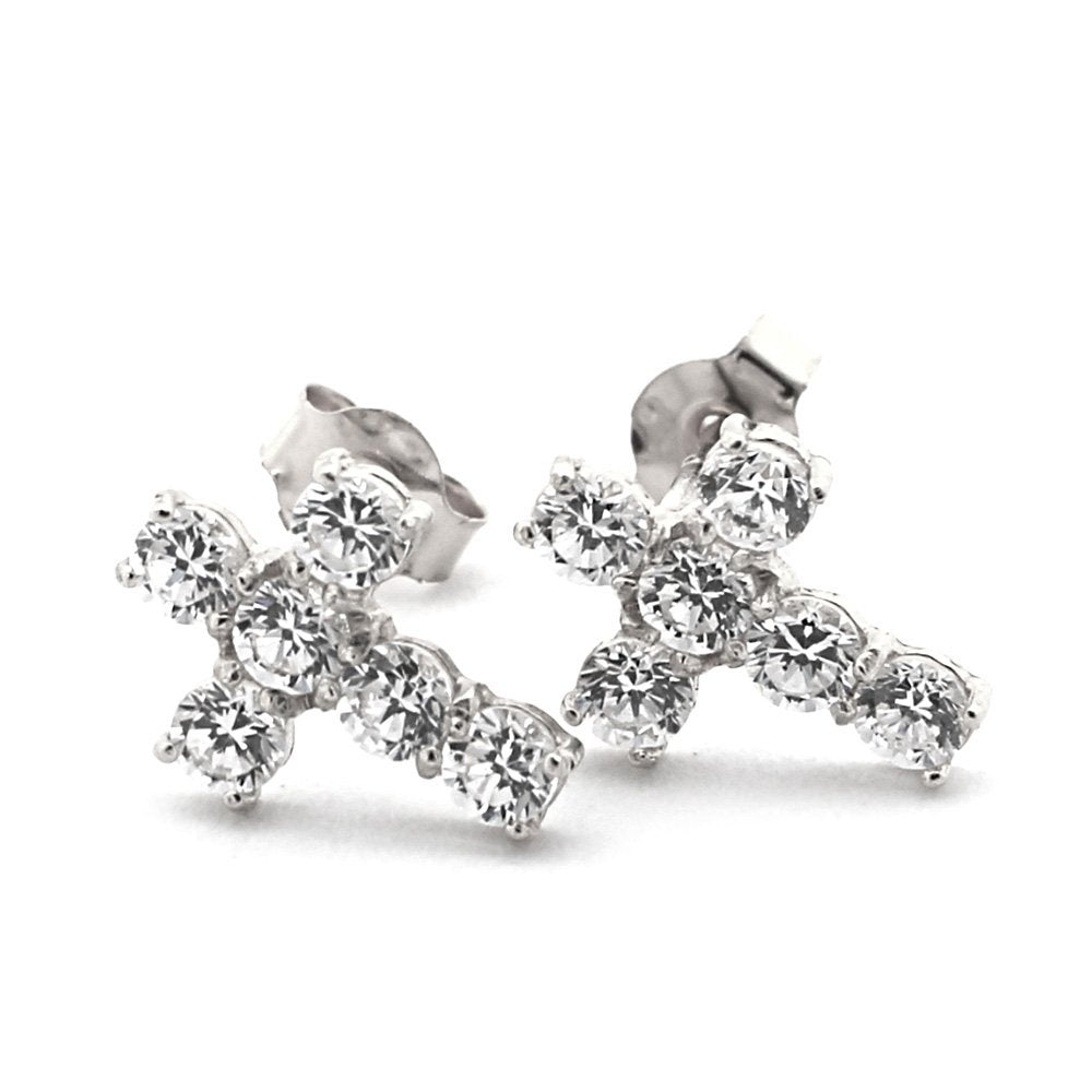 14k Yellow or White Gold Cubic Zirconia Cross Stud Earrings