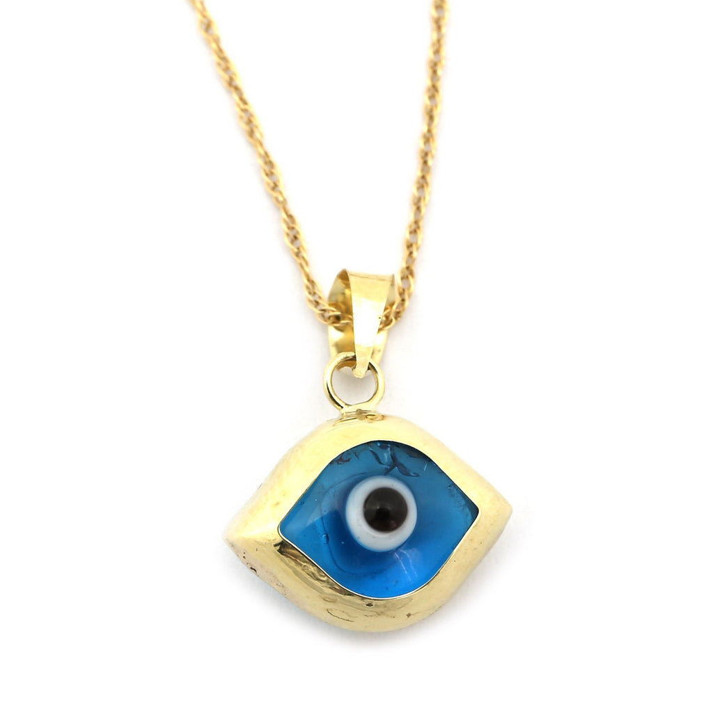 14k Yellow Gold Pointed Evil Eye Pendant Necklace, pendant only