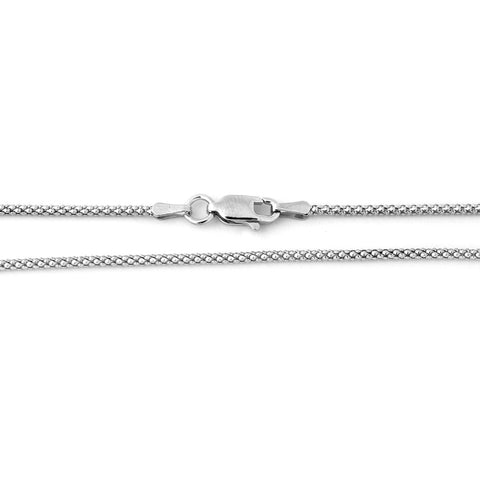 Solid Sterling Silver Rhodium Plated 1.6mm Popcorn Chain Necklace, 16""