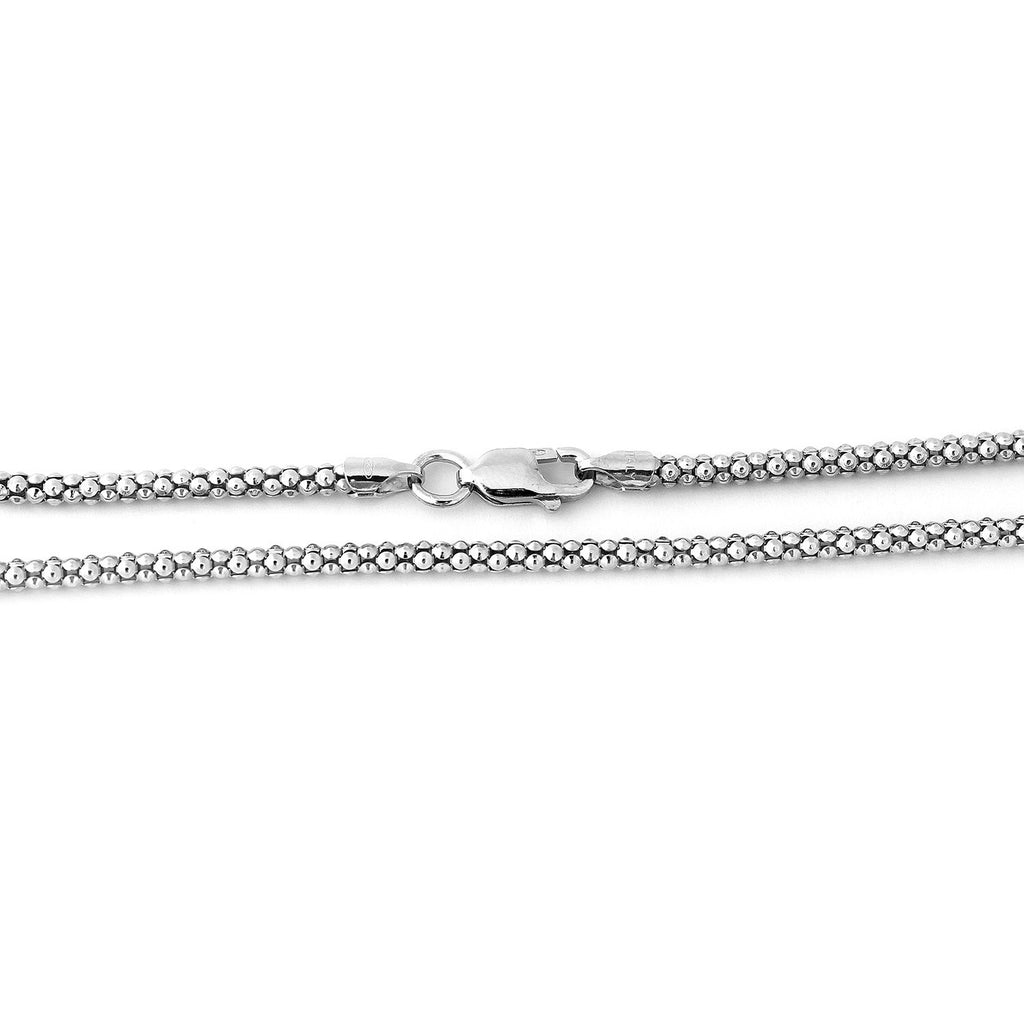 Solid Sterling Silver Rhodium Plated 2.5mm Popcorn Chain Necklace, 16""