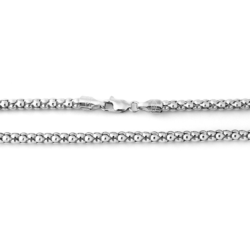 Solid Sterling Silver Rhodium Plated 4.2mm Popcorn Chain Necklace, 16""