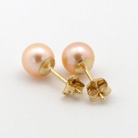 Solid Sterling Silver Rhodium Plated AAA Pink Round Freshwater Cultured Pearl Stud Earrings - 3.0-3.5mm