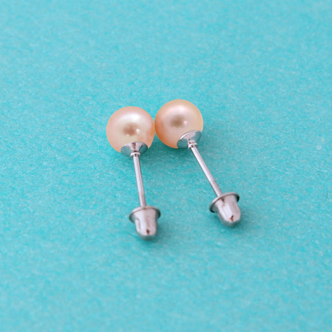 Sterling Silver Rhodium Plated AAA Pink Freshwater Cultured Pearl Stud Earrings Kids Screwbacks - 3.0-3.5mm