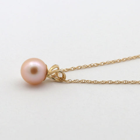 14k Solid White Gold AAA 6mm Peach Pink Round Freshwater Cultured Pearl Pendant - just pendant