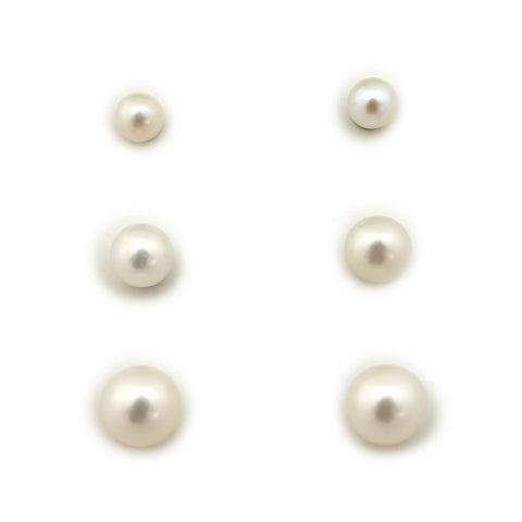Sterling Silver Rhodium Plated 3mm, 4mm and 5mm AAA White Freshwater Cultured Pearl Stud Earrings Set