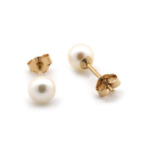 14k Yellow Gold 4-4.5 mm AAA Round White Freshwater Cultured Pearl Stud Earrings