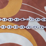 Men's Solid Sterling Silver Rhodium Plated 12mm Puffed Mariner Chain Necklace, 30""