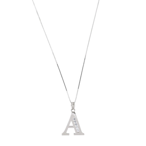14k White Gold Large Cubic Zirconia Initial Pendant Necklace, A, 16""