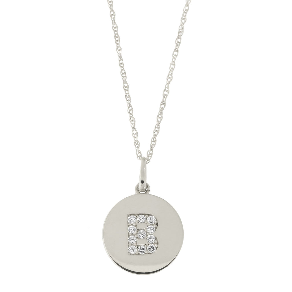 14k White Gold Cubic Zirconia Initial Disc Pendant Necklace, B, 13 inches
