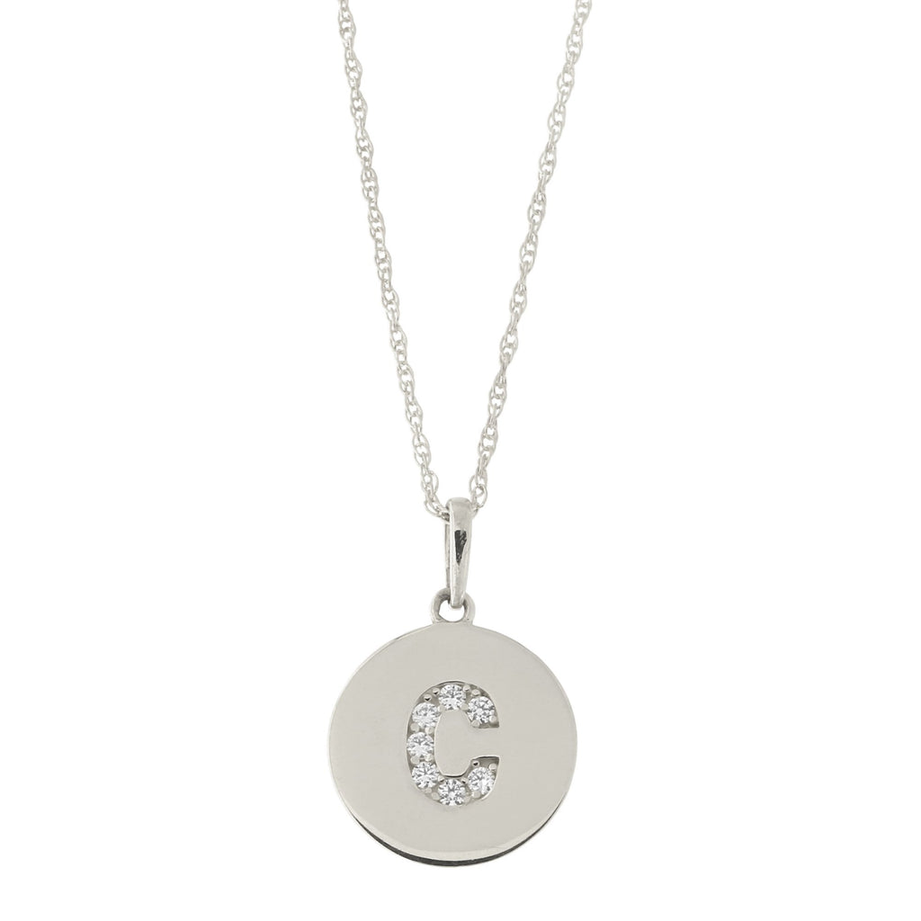 14k White Gold Cubic Zirconia Initial Disc Pendant Necklace, C, 13 inches