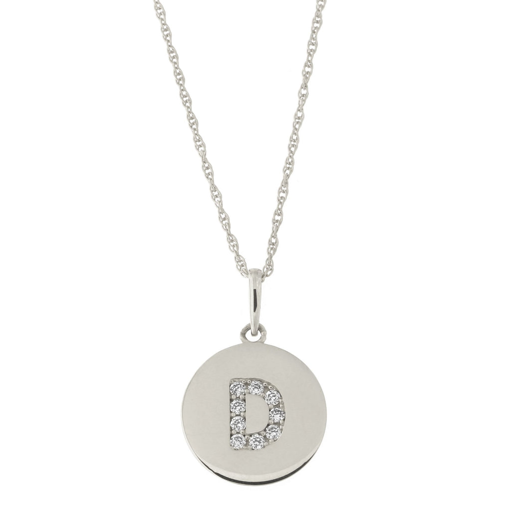 14k White Gold Cubic Zirconia Initial Disc Pendant Necklace, D, 15 inches