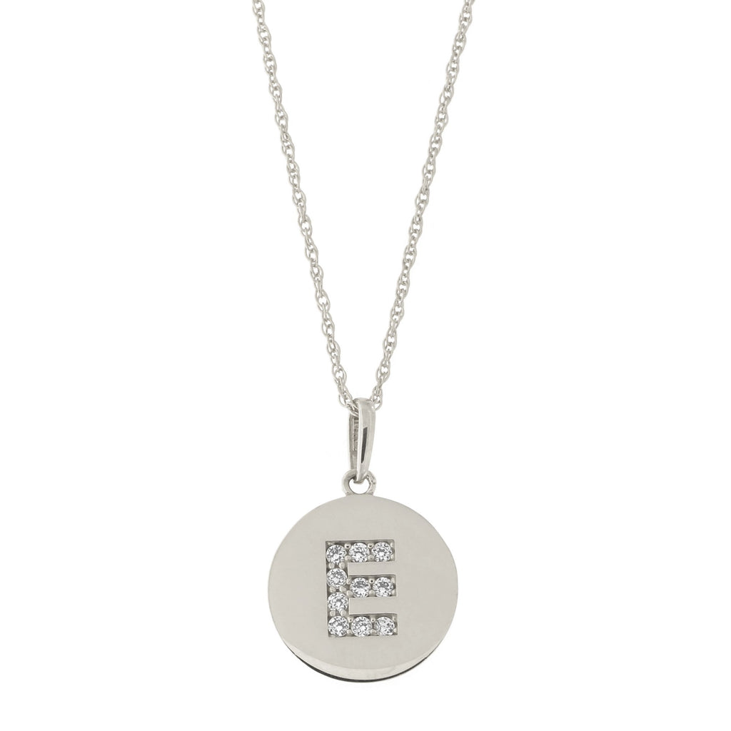 14k White Gold Cubic Zirconia Initial Disc Pendant Necklace, E, 15 inches
