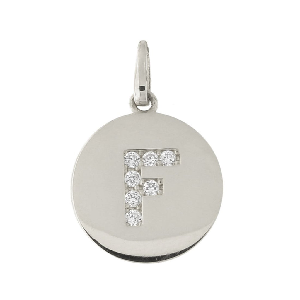 14k White Gold Cubic Zirconia Initial Disc Pendant, F