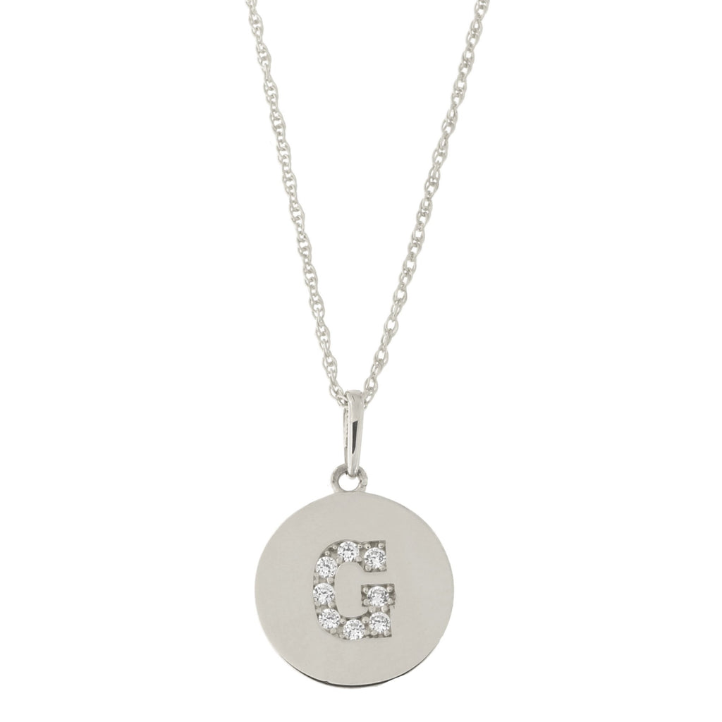 14k White Gold Cubic Zirconia Initial Disc Pendant Necklace, G, 13 inches