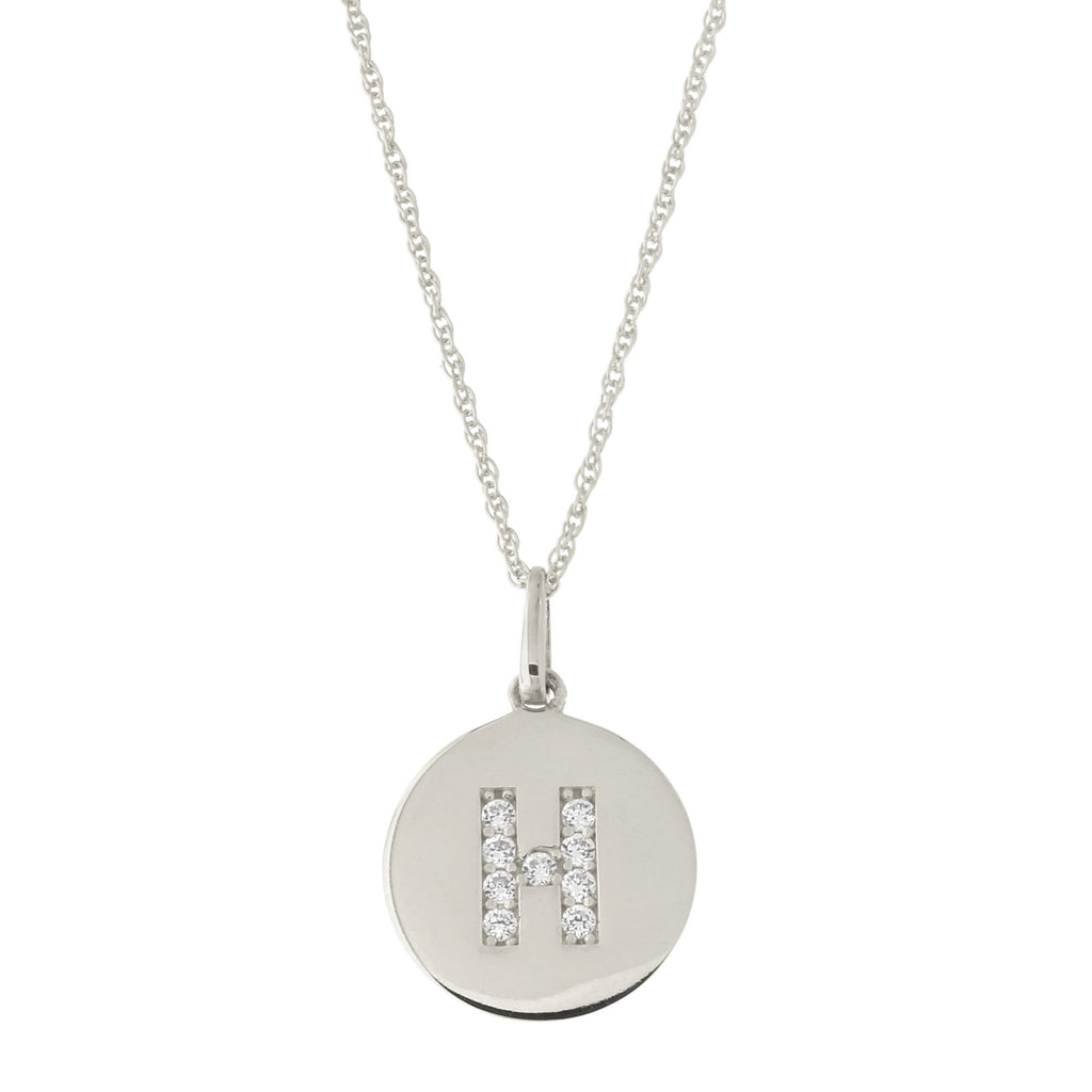 14k White Gold Cubic Zirconia Initial Disc Pendant Necklace, H, 18 inches