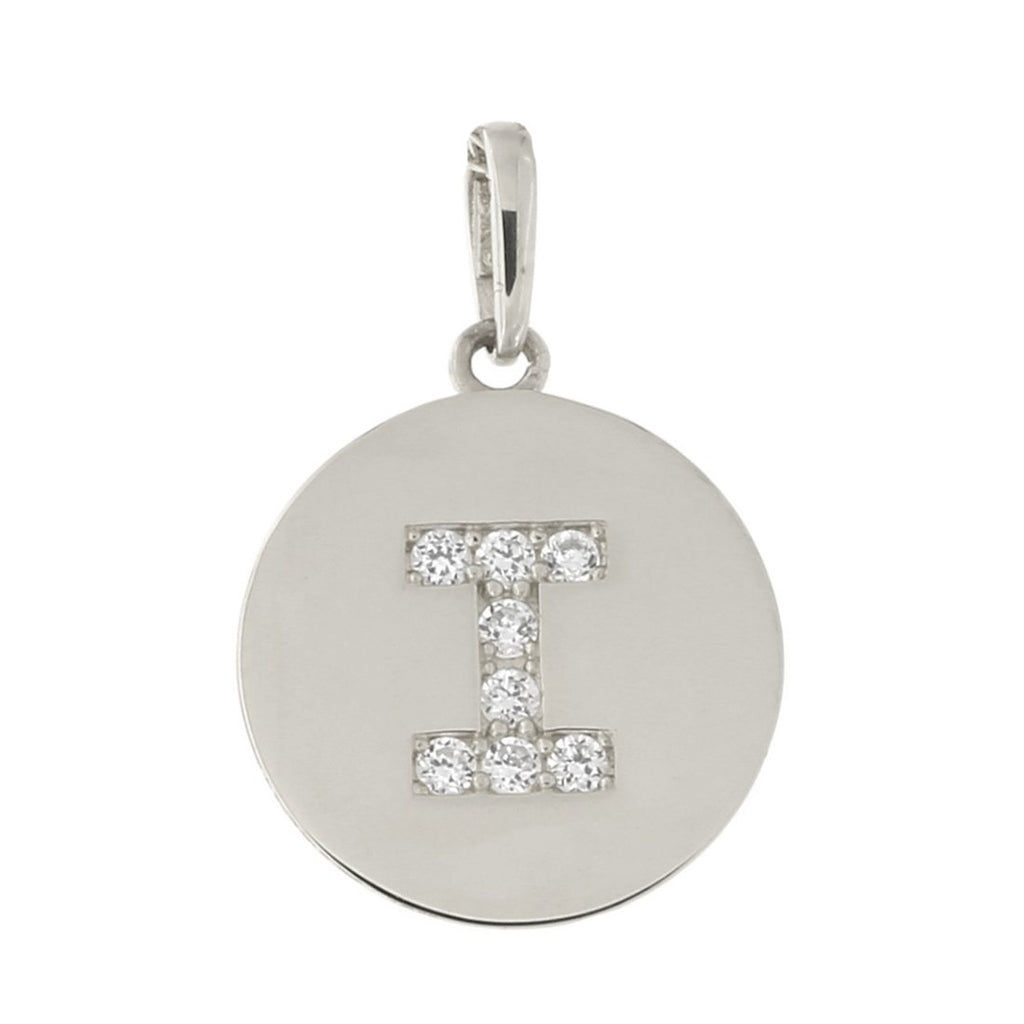 14k White Gold Cubic Zirconia Initial Disc Pendant, I