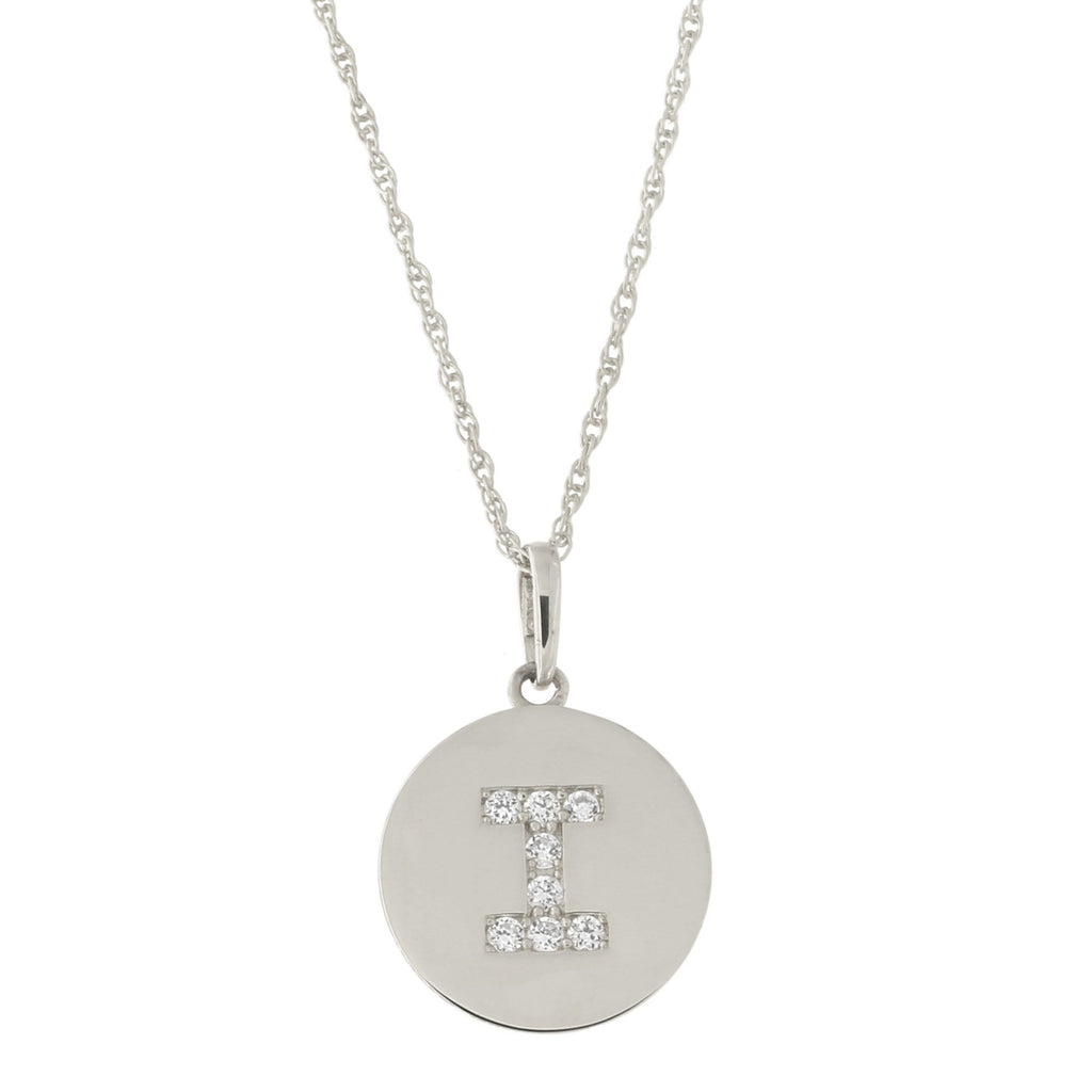 14k White Gold Cubic Zirconia Initial Disc Pendant Necklace, I, 15 inches