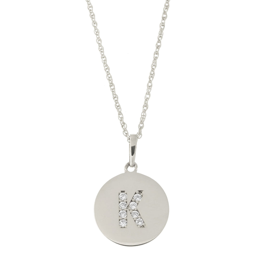 14k White Gold Cubic Zirconia Initial Disc Pendant Necklace, K, 20 inches