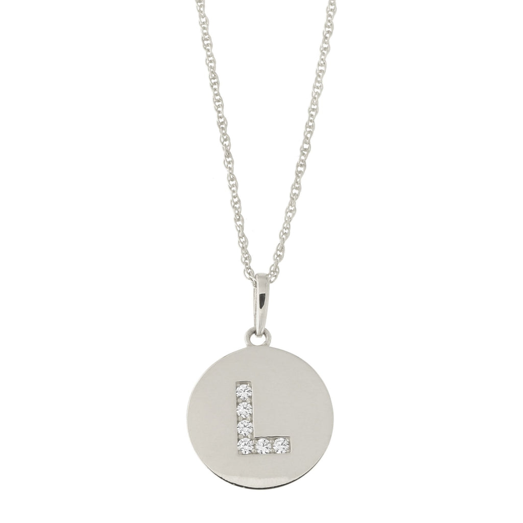 14k White Gold Cubic Zirconia Initial Disc Pendant Necklace, L, 13 inches