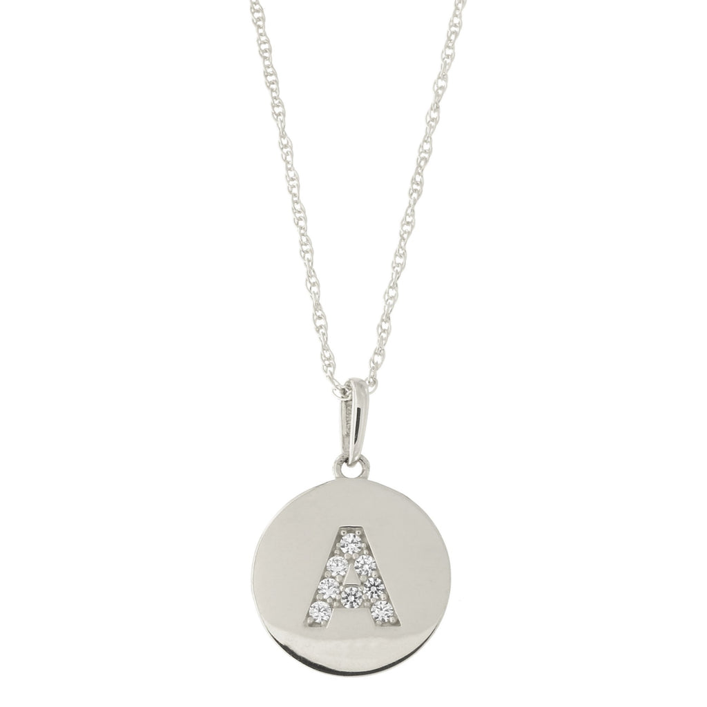 14k White Gold Cubic Zirconia Initial Disc Pendant Necklace, M, 13 inches