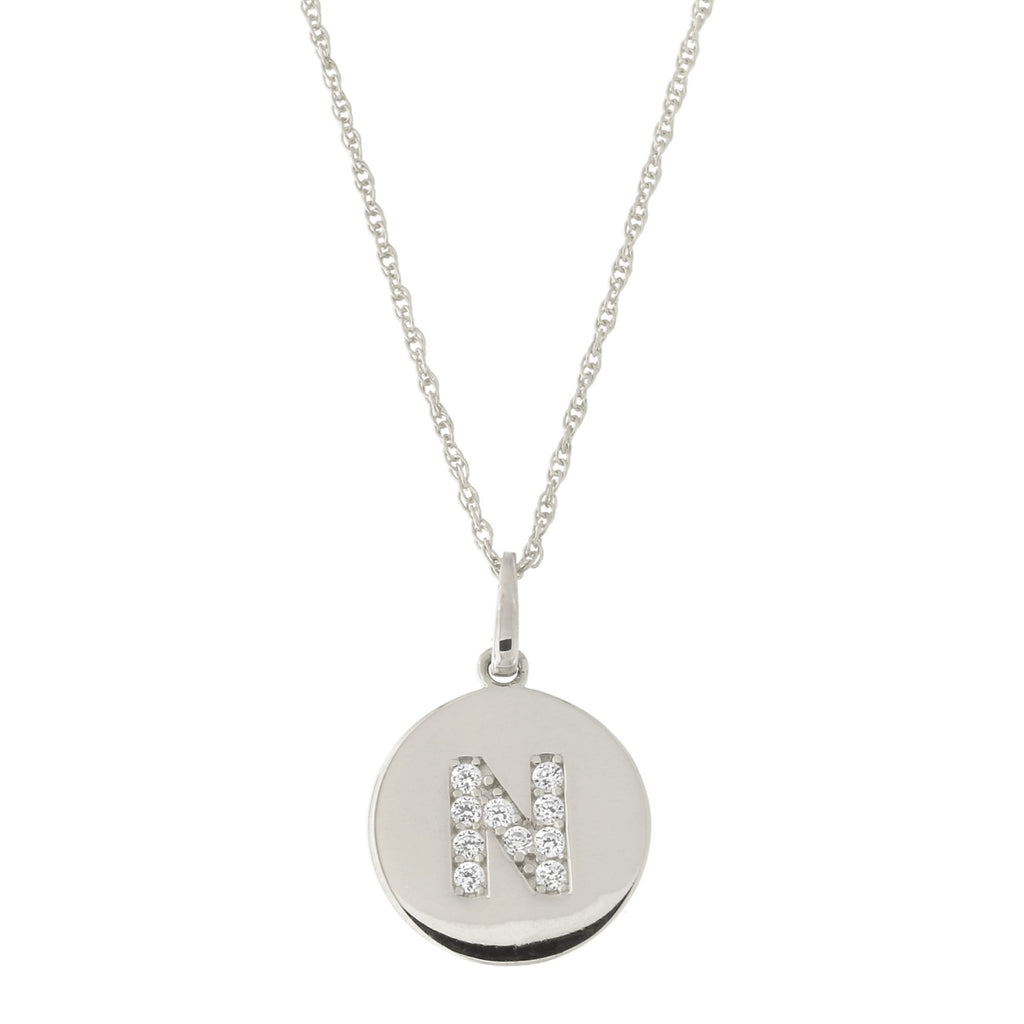 14k White Gold Cubic Zirconia Initial Disc Pendant Necklace, N, 18 inches