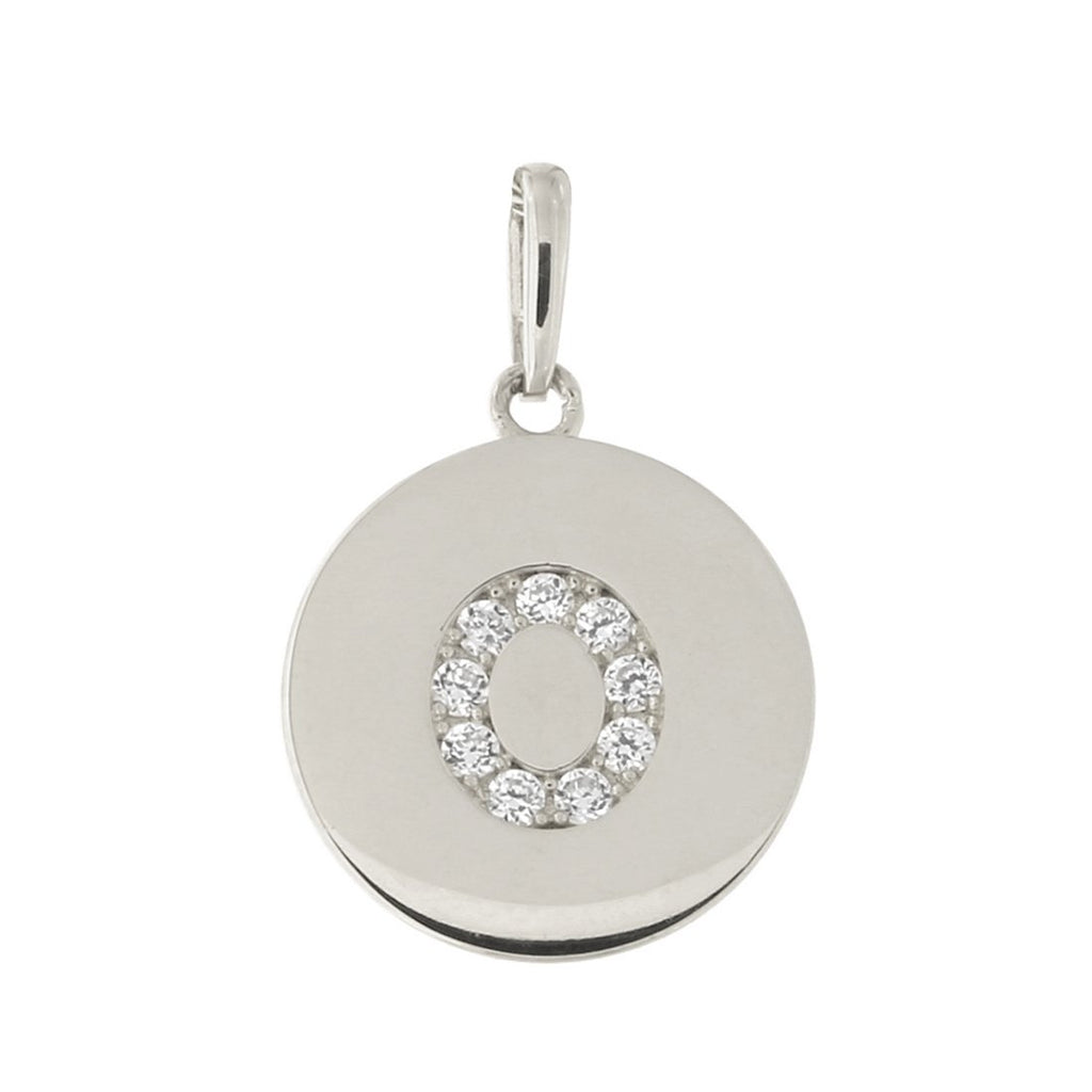 14k White Gold Cubic Zirconia Initial Disc Pendant, O