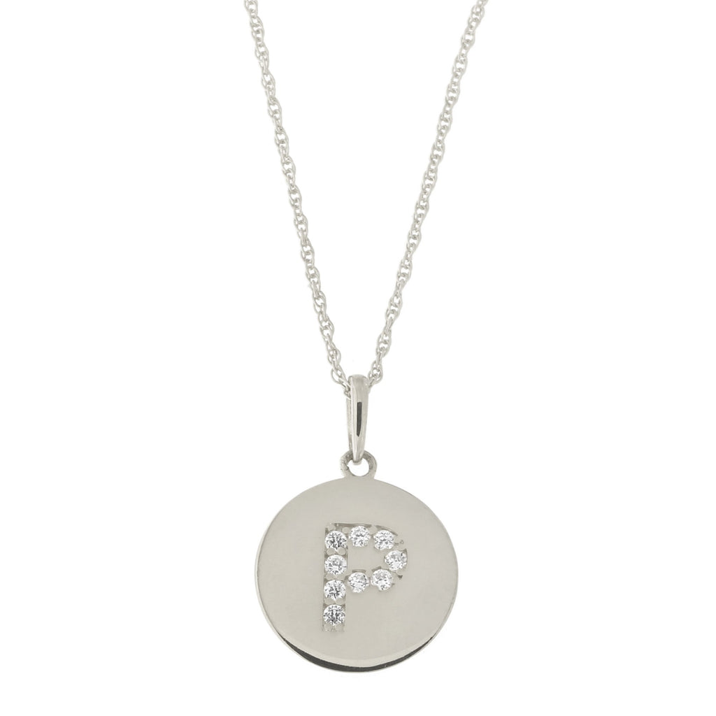 14k White Gold Cubic Zirconia Initial Disc Pendant Necklace, P, 15 inches